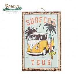 서핑 인테리어 소품 우드 프린트 포스터 SURFERS TOUR