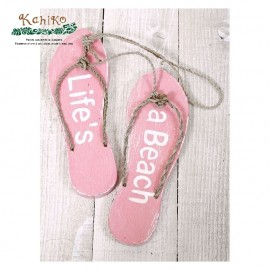 서핑 인테리어 소품 비치 샌달 사인보드 PINK